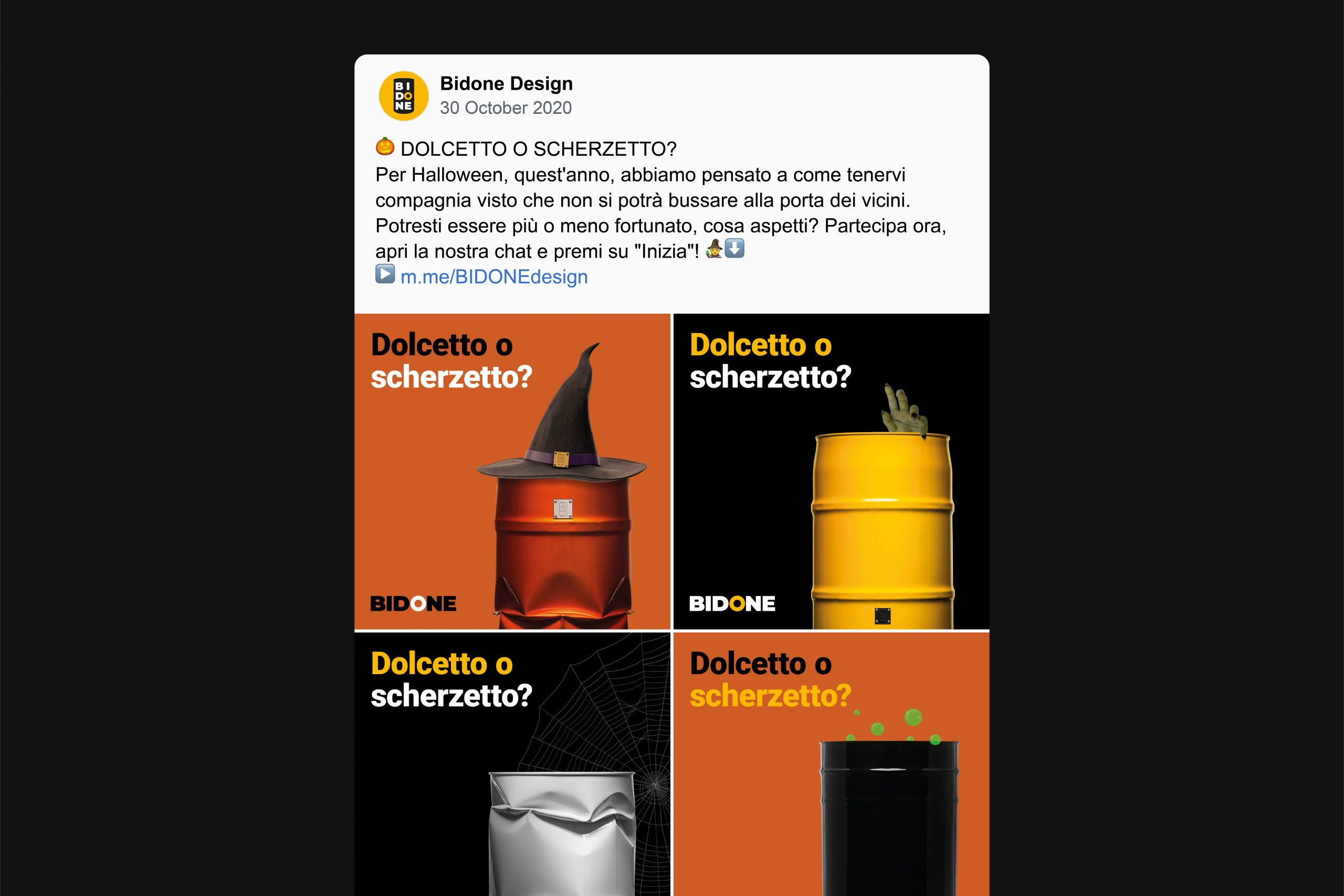 Post Facebook Halloween Bidone Design