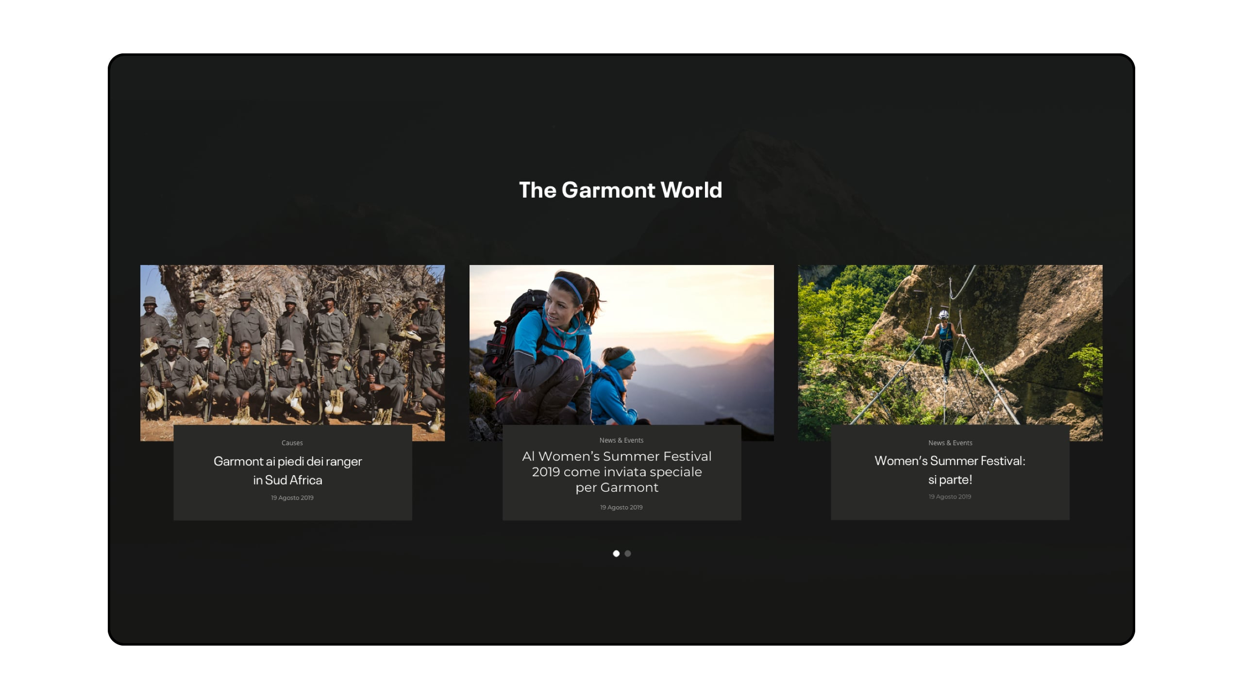The Garmont World desktop